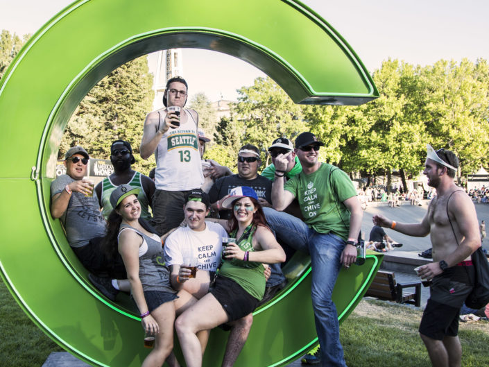 Chive Fest goers at Seattle Center in Seattle, WA on July 12, 2014.